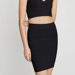 BCBGMAXAZRIA Simone Textured Power Skirt - Black